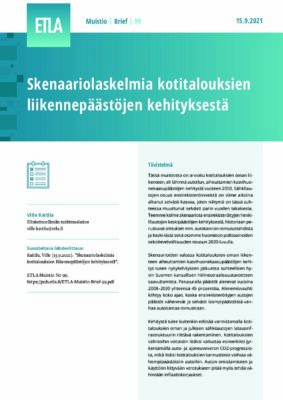 Lataa: Skenaariolaskelmia kotitalouksien liikennepäästöjen kehityksestä (Etla Muistio 99)
